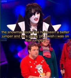 Never Mind the Buzzcocks: The Snowman Jumper Funny As Hell, Funny Cute, Hilarious, Doctor Who Episodes, The Mighty Boosh, Noel Fielding, British Comedy, Cool Names, Amazing Quotes
