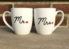 His and Her Mugs Mr and Mrs Mugs Wedding Mugs by TheCozyPup