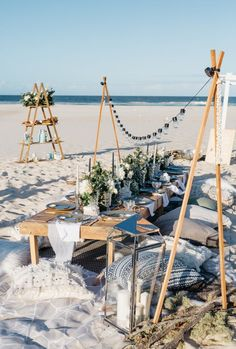 Beautiful beach birthday styled and prop hire by us - party inspiration and entertaining - Summer Picnics Cheap Beach Wedding, Beach Weddings, Summer Wedding, Trendy Wedding, Deco Restaurant, Beach Picnic, For Your Party, Event Styling, Beautiful Beaches