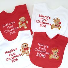(Name) First Christmas 2016  Personalised Baby Bib  Beautifully Embroidered  Super Soft  Made in England  Any 1 name embroidered