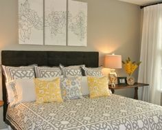 grey and yellow bedroom ideas | Simple Bedroom Staging Ideas ***grey, yellow and black for guest room ...