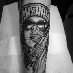 Resultado de imagem para girl with gun tattoo