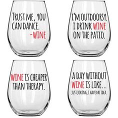 Wine Glasses - Wine Time, Set of 4 – Noble Grape Wine Glass Sayings, Wine Glass Crafts, Wine Glass Set, Sayings For Wine Glasses, Wine Glass Decals, Cute Wine Glasses, Diy Glasses, Wine Glass Designs, Cheap Wine