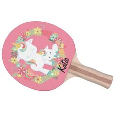 Cute Unicorns and Floral Personalized Ping Pong Paddle - floral gifts flower flowers gift ideas