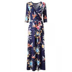 AdoreWe - Dresslink Blue Surplice Neck 3/4 Sleeve Floral Belted Maxi Dress - AdoreWe.com