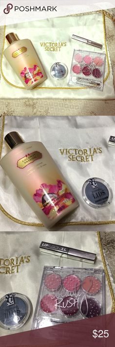 """Victoria's Secret 5 PC Beauty Bundle All New This is a BRAND NEW UNUSED UNOPENED items for sale. VICTORIA'S SECRET 5 PC Beauty Bundle NEW. This Bundle consists of:   1- Large Satin Jewelry or Makeup Bag       Ivory& Gold snap closure 12""""X9"""" 1- Full Size Coconut Passion Body Lotion 8.4 fl oz 1- Prismatic Shimmer Eyeshadow """"Double Dazzle"""" 1- Lip Gloss Palette W/6 colors & THE Lip fusion XL plumper Gloss. That is the 5 PC V.S. Bundle THANK you for looking🌺 Victoria's Secret Makeup"""