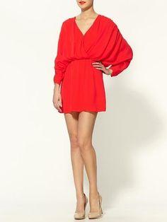 ShopStyle: Parker Rouched Silk Dress