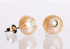Galatea Jewelry by Artist carved pearl and diamond earrings