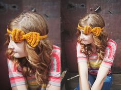 Crocheted Bow Tie Headband in Golden Yellow by ShopLadyLike, $18.00
