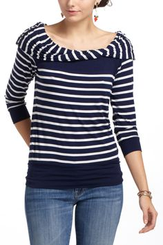 Ooh, I like this take on the boatneck striped top. Like those sweaters that were really popular in middle school with the fold down neck to make them off-the-shoulder, but in a grown-up version.