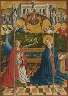 Johann Koerbecke, The Annunciation, 1457. Oil on panel, transferred to canvas.