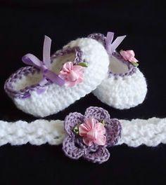 Crochet Headband and booties.
