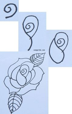 How to draw and paint a {ROSE} : 6 easy designs - Sew Guide rose drawing Acrylic Painting Flowers, Fabric Painting, Simple Designs To Draw, Rose Drawing Simple, Flower Drawing Tutorials, Tangle Art, You Draw, Drawing Lessons, Easy Drawings