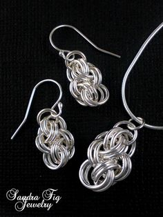 Twisted Silver-Filled Chainmaille Jewelry - Choice of Earrings, Necklace, or set of both