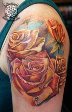 Custom yellow rose tattoo by Sean Ambrose of Arrows and Embers Custom Tattoo! For inquiries, please call Thanks for looking! What is YOUR favorite flower? Comment below and let us know! Classy Tattoos For Women, Yellow Rose Tattoos, Colorful Roses, English Tattoo, Custom Tattoo, Yellow Roses, Tattoo Photos, Blackwork, Tatting