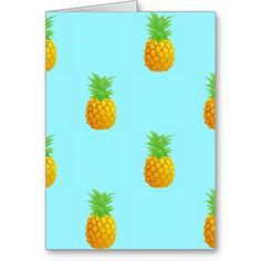 Pineapple Pattern on Blue Card. A repetitive pattern of simple pineapples on a bright blue background. This is a cute and summery pattern perfect for many occasions.