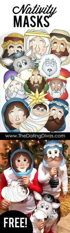 FREE printable nativity masks to act out the nativity story as a family on Christmas Eve. This is my favorite family Christmas tradition!! And this post has 15 PAGES of nativity masks and props! There are even 2 options. Color your own OR pick pre-colored.