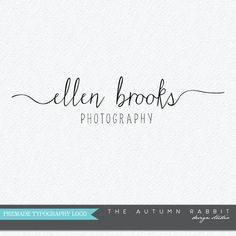 Premade Photography Logo Design - 2 font logo design - Handwriting style photography logo - Business Branding - Business Branding