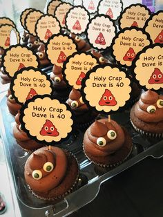 Holy crap you& old Poop emoji cupcakes birt. Birthday Cakes For Men, 50th Birthday Party Ideas For Men, 70th Birthday Parties, Adult Birthday Party, 50th Party, Birthday Celebration, Cake Birthday, Birthday Games, Diy 40th Birthday Decorations