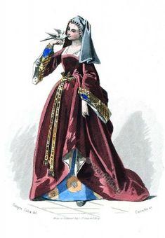 Moyen Age robe. Duchess Cour de Louis XII. Mode de 16ème siècle. Costumes…