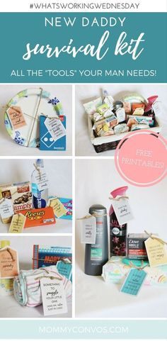 DIY NEW DADDY GIFT: A darling new daddy survival kit. Little gifts for the dad-to-be to help him feel loved. how to make dad feel loved with a new baby on the way. Gift ideas for a new dad. printable tags for a new dad. printable gift tags for dad to be. Baby Survival Kits, New Dad Survival Kit, Survival Kit Gifts, Survival Supplies, Survival Prepping, Survival Gear, Survival Skills, Survival Backpack, Pregnancy Survival Kit For Mom