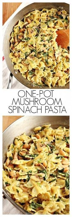 """One-Pot Creamy Mushroom Spinach Pasta with Beans€"""" a super simple vegetarian dish that takes only 20 minutes to make cooks together in one pot! Great dinner idea for a busy weeknight!"""