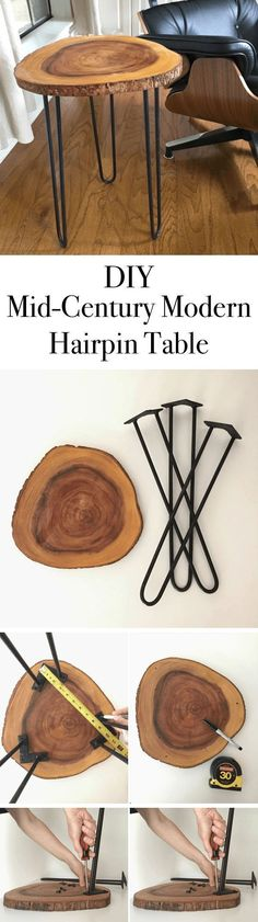 Mid-Century Modern Hairpin Table // Here is a great little table to make that you can use most anywhere. #moderntable