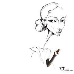 Fashion illustration of #feifeisun by #tio.torosyan #vogue #vogueitalia