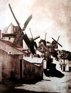 PARIS ,The windmills of Montmartre, Photo by Hippolyte Bayard. Montmartre Paris, Tour Eiffel, Old Pictures, Old Photos, Vintage Photographs, Vintage Photos, Paris Ville, History Of Photography, Vintage Paris