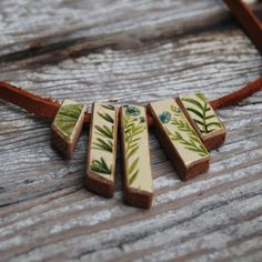 Green and Blue Botanical Necklace Reclaimed Oak and by PegandAwl, $52.00
