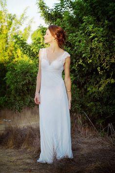 Hagit  Ivory  French Lacy Chiffon Bohemian Wedding Dress Low back Cap Straps V-neck Empire Boho Wedding Gown by paulastudio on Etsy https://www.etsy.com/listing/209681340/hagit-ivory-french-lacy-chiffon-bohemian