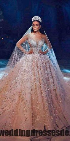 Luxury Champagne Dubai Wedding Dress Ball Gown Appliques Beaded Long Sleeves Round Neck Court Train Bridal Gowns With Veil - Wedding Dresses Princess Wedding Dresses, Dream Wedding Dresses, Bridal Dresses, Wedding Dress Princess, Princess Bridal, Bridesmaid Dresses, Princess Wedding Gowns, Princess Ball Gowns, Vintage Princess