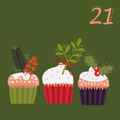 Some holiday cupcakes on day 21 Christmas Sweets, Christmas Mood, Christmas Countdown, Christmas Design, Vintage Christmas, Christmas Crafts, Christmas Clay, Christmas 2015, Holiday Cupcakes