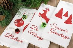 Today, I have some fabulous stenciled kitchen towels to share with you. As a bonus, I am sharing the files for your personal use to create these beautiful Christmas icon stencils.