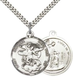"""Sterling Silver St. Michael the Archangel Pendant with 24"""" Stainless Silver Heavy Curb Chain. Patron Saint of Police Officers/EMTs. 925 Sterling Silver Pendant with Stainless Steel ChainChain. Includes Deluxe Gift-Box. Made in USA. Lifetime Guarntee."""