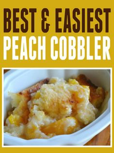 """Easy Peach Cobbler Recipe! We made this last night to take to a gathering (used my home bottled peaches). It was a HIT!!! So yummy and you can taste the butter. Everyone said, """"This is a keeper!"""" 
