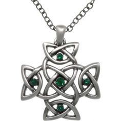 Jewelry Trends Pewter Green Crystal Celtic Cross Pendant on 24 Inch Chain Necklace #jewelrytrends