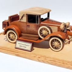 A woodworking plan for building the classic 1930 Ford Model A car Coloring For Kids Free, Wooden Toy Trucks, Wood Projects, Woodworking Projects, Wood Toys Plans, Handmade Wooden Toys, Woodworking Inspiration, Homemade Toys, Old Toys
