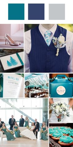turquoise + navy + gray = good for formal winter weddings