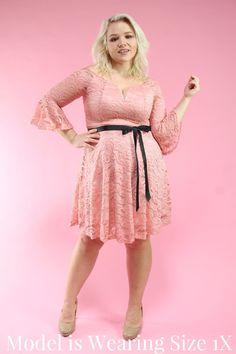 61a6365a2c0 Pink Lace Off the Shoulder Juliet Dress. Pink Lace Off the Shoulder Juliet  Dress — Your Big Sister s Closet Plus Size