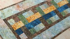 Quilted Table Runner Earthy Batik 584 by QuiltinWaYnE on Etsy