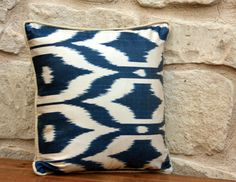 Ikat Pillow ,Decorative Pillow Cover, Silk Ikat Pillow, Throw Pillow,Handmade Pillow, Ikat Cushion Cover,Navy Ikat by pillowandcover on Etsy