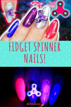 Fidget Spinner Nails | Mini Galaxy Fidget Spinner DIY Nail Art!  Step by Step nail art tutorial teaching you how to make your own mini galaxy fidget spinner for your nails that glow in the dark under black light!