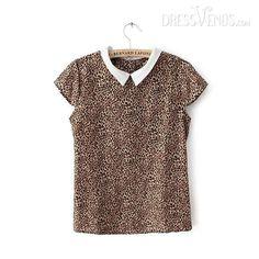 #Blouse #Blouses #Satin Graceful Short Sleeves Retro Leopard Print Satin Blouse