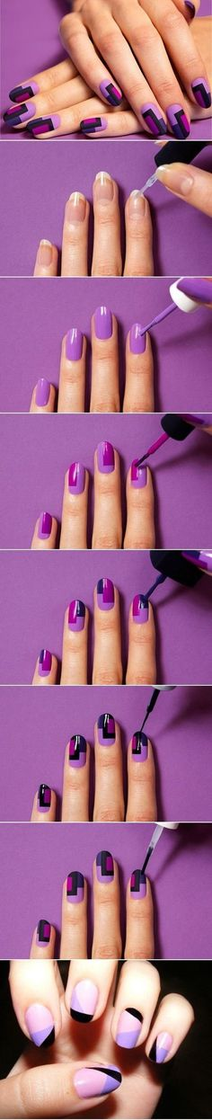 Mix up your light and dark nail polish with this geometric nail art tutorial. #manicure