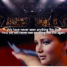 The fact that he says we will never see anything like this again always gets to me, because inside he knew something was going to happen to Cinna and to Panem after this game.