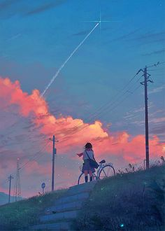 Anime sky world art Animes Wallpapers, Cute Wallpapers, Aesthetic Anime, Aesthetic Art, Anime Art Girl, Manga Art, Pretty Art, Cute Art, Anime Scenery Wallpaper