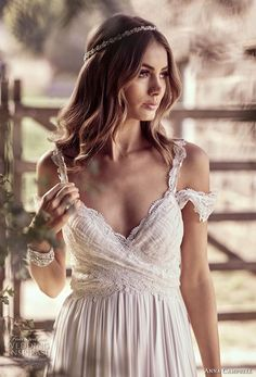 anna campbell 2018 bridal off shoulder with strap sweetheart neckline wrap over bodice soft a line wedding dress open back sweep train (9) zv -- Anna Campbell 2018 Wedding Dresses