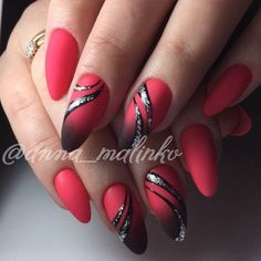 Rot Schwarz Nail Art # Thumbnail Design Haare Schwarz The Effective Pictures We Offer You About gel nails A quality pictu Red Black Nails, Black Nail Art, Black Hair, Long Red Nails, Black Nail Designs, Simple Nail Art Designs, Hot Nails, Hair And Nails, Gorgeous Nails