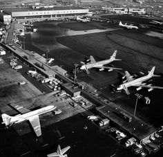 Newark Airport photo from 1960s - love the American Boeing 707 and Convair 990, and the United Caravelle
